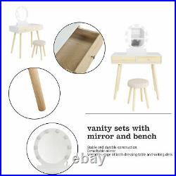 Vanity Makeup Dressing Table Stool Set Round Mirror with 8 Light Bulbs 2 Drawers