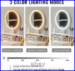 Vanity Makeup Dressing Table with 3 Color led Light Round Mirror 2 Large Drawers