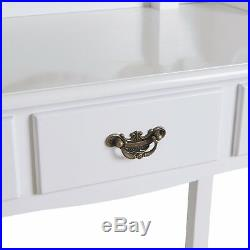 Vanity Makeup Table Set Dressing Table Desk with Drawer Stool & Mirror White