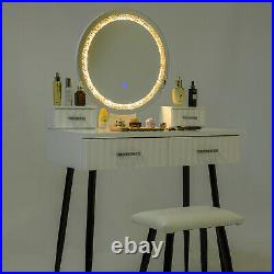 Vanity Makeup Table Set with Touch Screen Adjustable Lighted Mirror 4 Drawers US