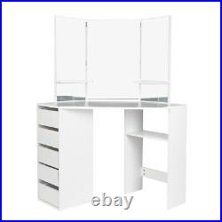 Vanity Set Dressing Table with Mirror Drawers Makeup Desk Modern White