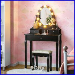 Vanity Set Makeup Dressing Table 3 Drawers Lighted Mirror With10 LED Bulbs Black