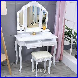 Vanity Set Makeup Dressing Table with 10 LED Lights Mirror with Stool White US