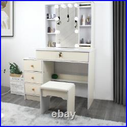 Vanity Set Makeup Dressing Table with 10 LED Lights with Stool and Mirror OAK