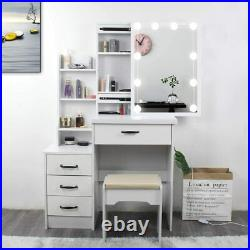 Vanity Set Makeup Dressing Table with 10 LED Lights with Stool and Mirror White