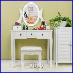 Vanity Set Makeup Dressing Table with 10Led 360° Rotating Lighted Mirror 5 Drawers