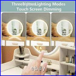 Vanity Set Makeup Dressing Table with Led Light Round Mirror 3 Large Drawer USA