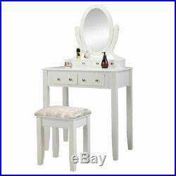 Vanity Set Makeup Dressing Table with Stool 4Drawers Mirror Jewelry Desk White