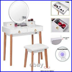 Vanity Set Makeup Table with 3-Color Touch Screen Dimmable Lighted Mirror 4 Drawer