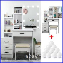 Vanity Set With 10 Bulb Lighted Mirror Cushioned Stool Set Dressing Table Makeup