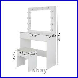 Vanity Set With Lighted Mirror Cushioned Stool Dressing Table Makeup Table Z8