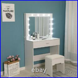 Vanity Set With Lighted Mirror Cushioned Stool Dressing Table Vanity Makeup