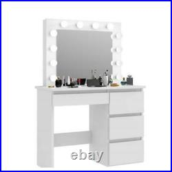 Vanity Set with 10 Led Light Bulbs & Stool Mirror Drawer Makeup Dressing Table