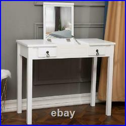 Vanity Set with Flip Top Mirror Makeup Dressing Table Writing Desk with 2 Drawer