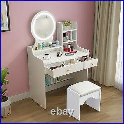 Vanity Set with LED Lighted Mirror Makeup Dressing Table Dresser Desk and Stool