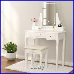 Vanity Set with Lighted Mirror Dimming Dressing Table with Stool, 5 Drawers, White