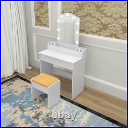 Vanity Set with Lighted Mirror Makeup Dressing Table+9 LED Light+Stool WithDrawer