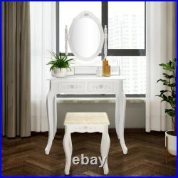 Vanity Set with Lighted Rotatable Mirror 4-Drawers Makeup Dressing Table Dresser