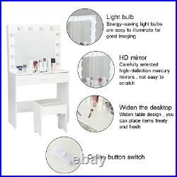 Vanity Set with12 LED Lighted Mirror Cushioned Stool Dressing Makeup Table White