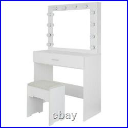 Vanity Set withLED Lighted Mirror Cushioned Stool Dressing Table Makeup Table Bed