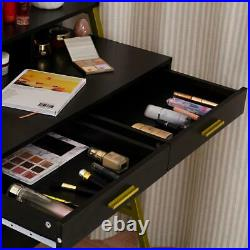 Vanity Table Dressing Set 9 LED Lighted Makeup Desk with Mirror and 2 Drawers