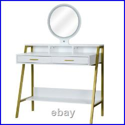 Vanity Table Dressing Set 9 LED Lighted Makeup Desk with Mirror and 2 Drawers us
