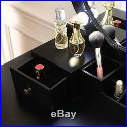 Vanity Table Set with 10 LED Lights, Makeup Dressing Desk with Cushioned Stool