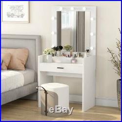 Vanity Table Set with 9LED Lights Drawer Makeup Dressing Desk with Mirror White