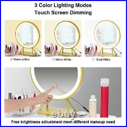 Vanity Table Set with Lighted Mirror Makeup Dressing Table with Round LED Light