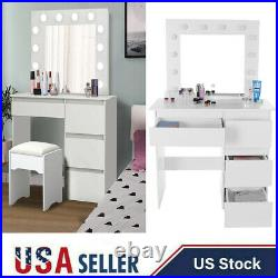 Vanity Table Set with Lighted Mirror Makeup Dressing White with 12 Led Bulb