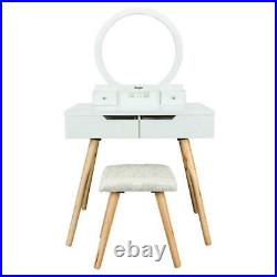 Vanity Table Set with Round Mirror 4 Large Drawers Makeup Dressing Table White