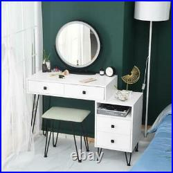 Vanity Table & Stool Set with Lighted Mirror & Drawers Makeup Dressing Table Desk