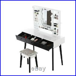 Vanity Table With Lighted Mirror, Makeup Vanity Dressing Table With 10 Lights