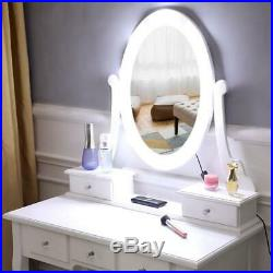 Vanity Table WithLED Lights 5 Drawers Makeup Dressing Desk with Stool Set White