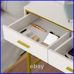 Vanity Table and Mirror with 10 Light Bulb Makeup Vanity Set for Bedroom