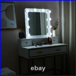 Vanity Table with 10 LED Lights Mirror and 4 Drawers White Makeup Dressing Table