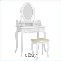 Vanity Table with 4 Jewelry Drawers Makeup Dressing Table Set Oval Mirror Stool