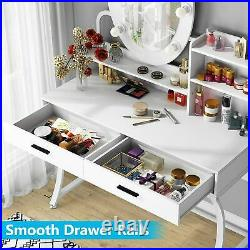 Vanity Table with Lighted Mirror, Makeup Dressing Table Dresser Desk with 2Drawers