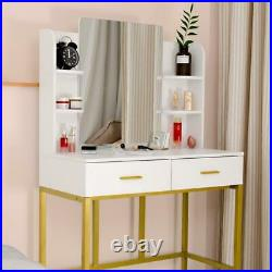Vanity Wood Makeup Dressing Table Set with Stool Mirror with 2 Jewelry Drawers