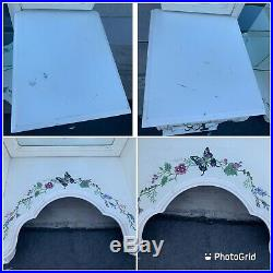 Vintage Lexington Hand Painted White Vanity Makeup Dressing Table 6 Drawers