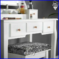 White Dressing Table Vanity Set Touch LED Mirror 5 Drawers Stool Makeup Desk