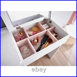 White Gloss Dressing Table Bedroom Vanity Set Makeup Desk with Mirror & Drawer