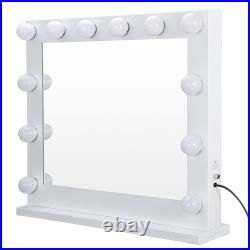White Hollywood Makeup Lighted Vanity Beauty Mirror with Dimmer Free Bulbs