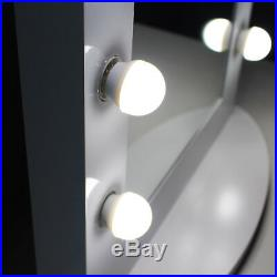 White Hollywood Makeup Vanity Mirror with Light Aluminum Mirror Gift