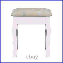 White Makeup Dressing Table Vanity Set with Stool& Mirror 5 Drawers Jewelry Desk