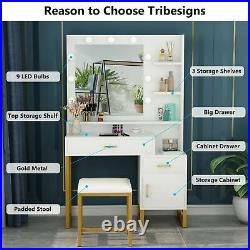 White Makeup Table Vanity Table with Lighted Mirror 2 Drawers Cabinet and Stool