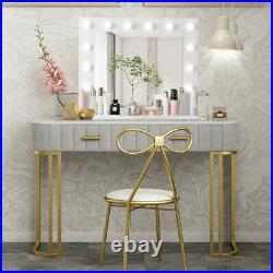 White Makeup Vanity Mirror With Light Stage Large Beauty Mirror Dimmer Lamp New