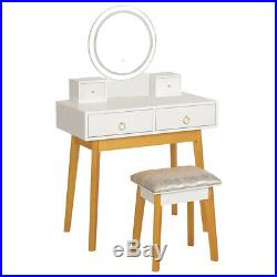 White Makeup Vanity Table Set With LED Lights Mirror & 4 Drawers Dressing Desk