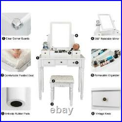 White Makeup Vanity Table Set With Stool 5 Drawers& Mirror Wood Dressing Desk