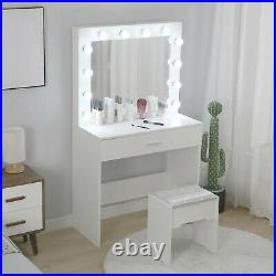 White Makeup Vanity Table Set with 12 Lights Mirror and 2 Drawers Dressing Desk